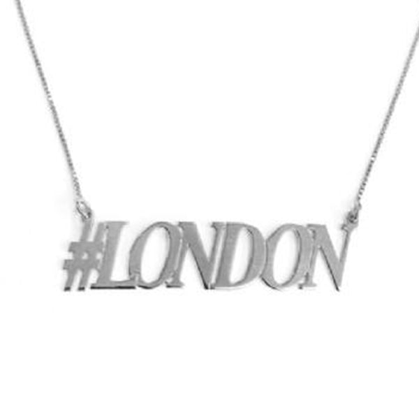 "925 Sterling Silver Personalized Hashtag LONDON Necklace Adjustable 16""-20"""