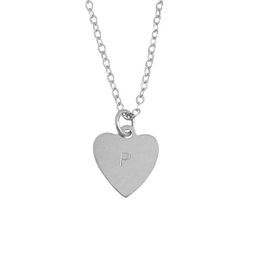 "925 Sterling Silver Personalized Heart Initial Necklace Adjustable 16""-20"""