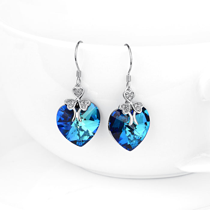 925 Sterling Silver Lucky Clover Blue Heart Crystal Crystals Drop Earrings