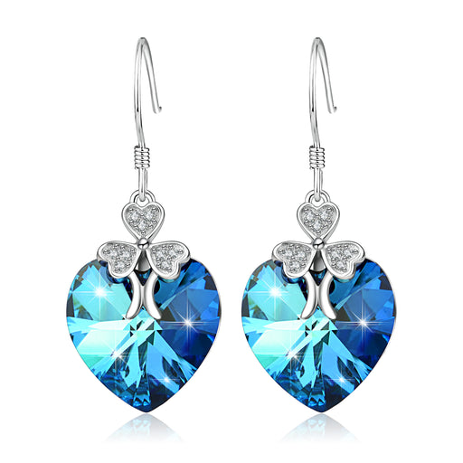 925 Sterling Silver Lucky Clover Blue Heart Swarovski Crystals Drop Earrings