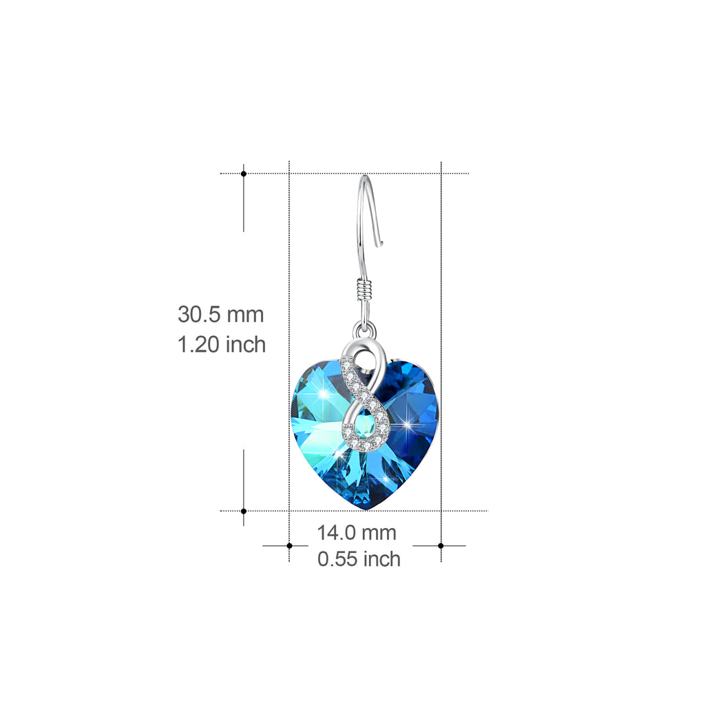 925 Sterling Silver Infinity Blue Ocean Heart Swarovski Crystals Drop Earrings