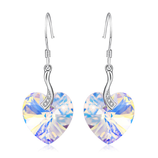 925 Sterling Silver Charm Love Heart Swarovski Crystal Drop Earrings