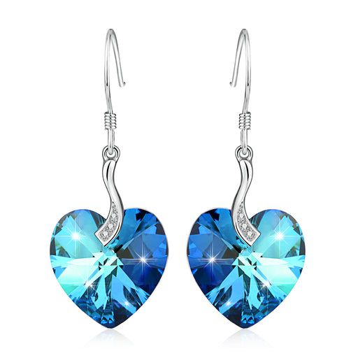 925 Sterling Silver Love Heart Swarovski Crystals Drop Earrings
