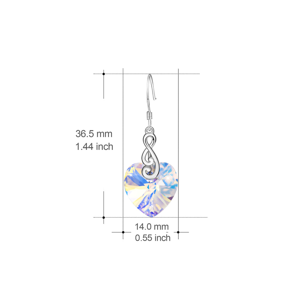 925 Sterling Silver Musical Note Ocean Heart Crystal Crystal Drop Earrings