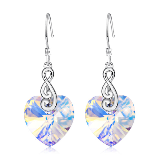 925 Sterling Silver Musical Note Ocean Heart Swarovski Crystal Drop Earrings