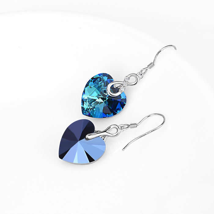 925 Sterling Silver Jewelry Infinity Blue Love Heart Drop Earrings