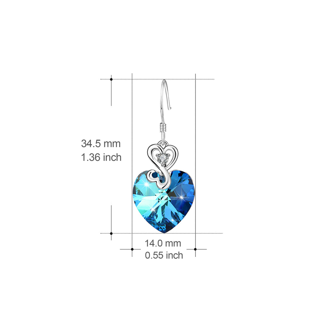 925 Sterling Silver Good Luck Love Heart Swarovski Crystals Drop Earrings