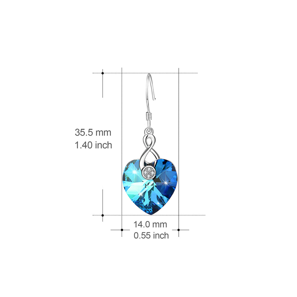 925 Sterling Silver Lovely Telephone Handle Ocean Heart Jewelry Drop Earrings