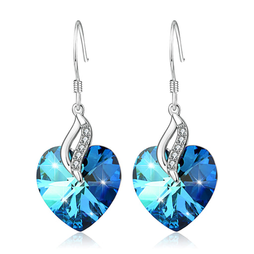 Blue Love Heart -925 Sterling Silver Drop Earrings With Swarovski Crystals
