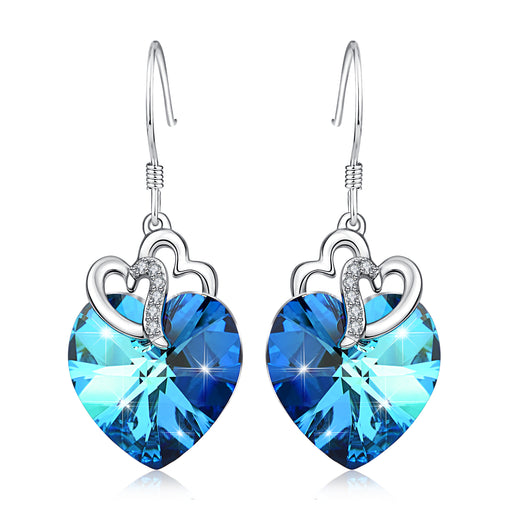 925 Sterling Silver Noble Swarovski Crystals Love Heart Drop Earrings for Women