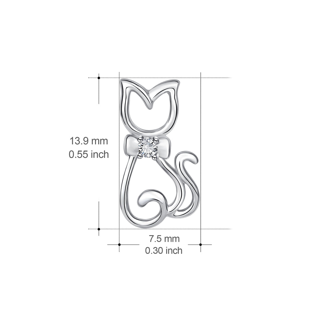 925 Sterling Silver Gentle Cat Jewelry Studs