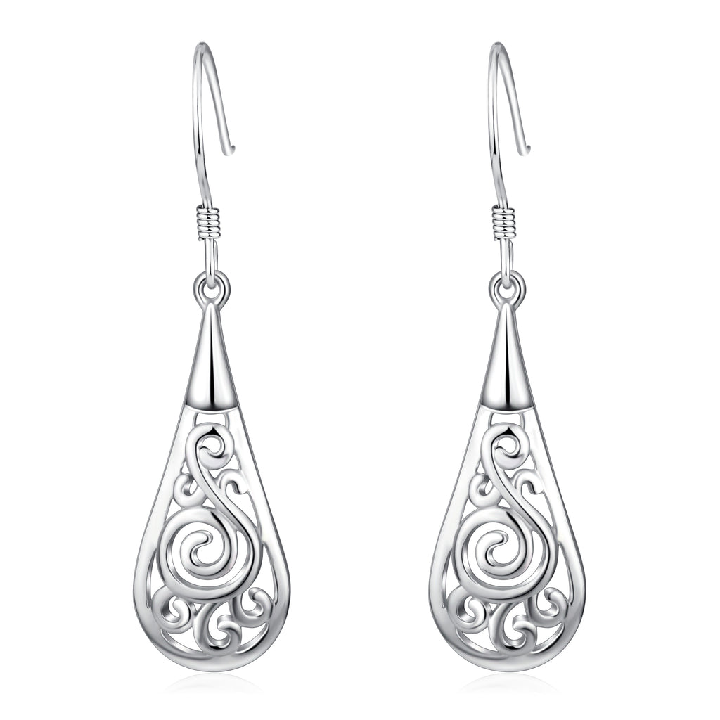 925 Sterling Silver Peacock Oval Dop Earrings