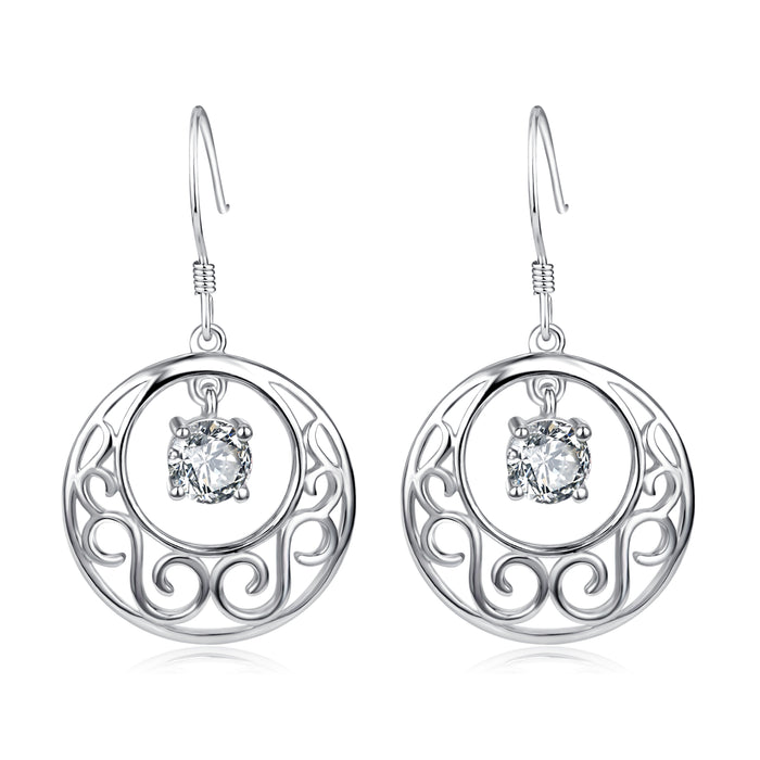 925 Sterling Silver Chinese Style Round Drop Earrings