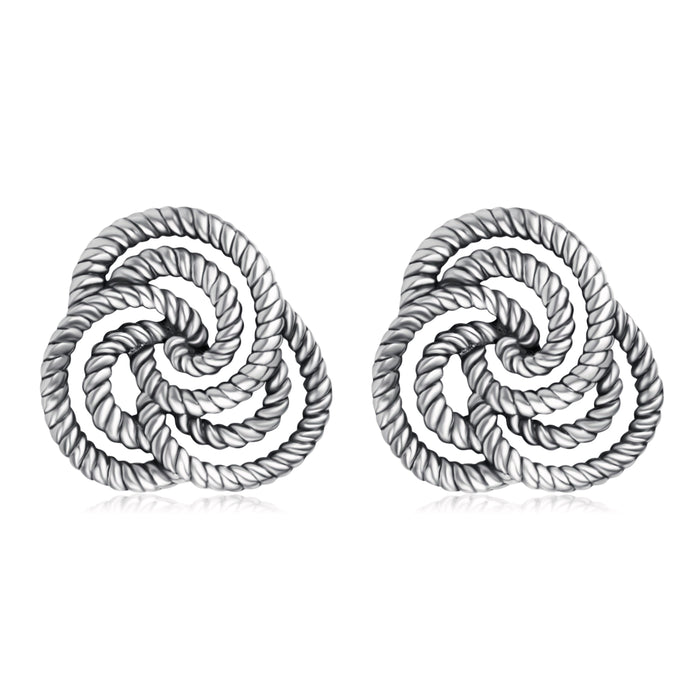 925 Sterling Silver Awesome Twisted Flower Studs