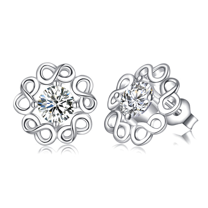 925 Sterling Silver Infinity Cubic Zircon Charm Studs For Women Girls