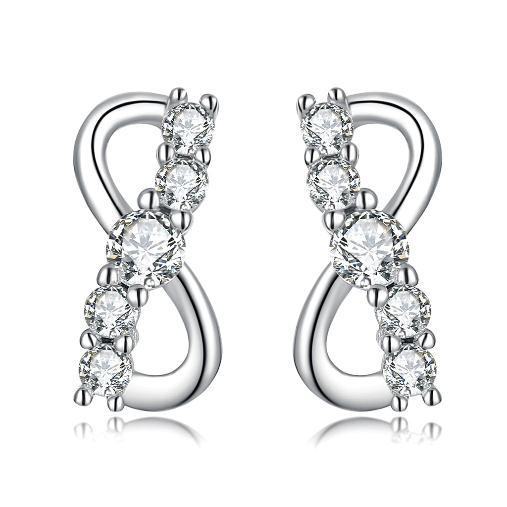 925 Sterling Silver Infinity Fashion Cubic Zircon Studs