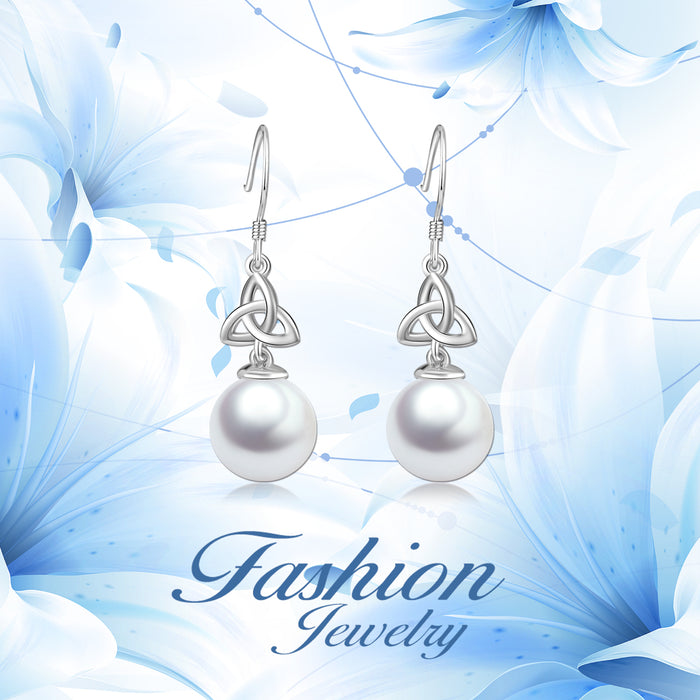 925 Sterling Silver Pearl Elegant Drop Earrings For Women Friends