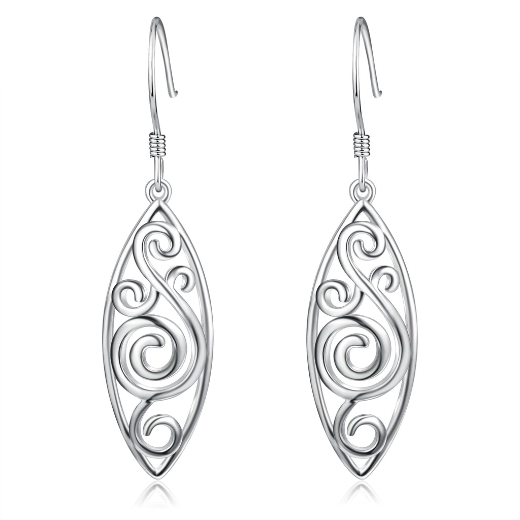 925 Sterling Silver Oval Peacock Drop Earrings