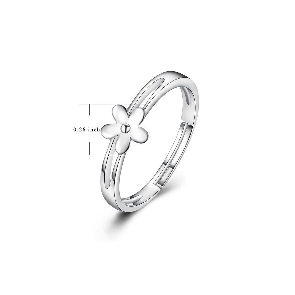 925 Sterling Silver Flower Hollow Nobel Ring