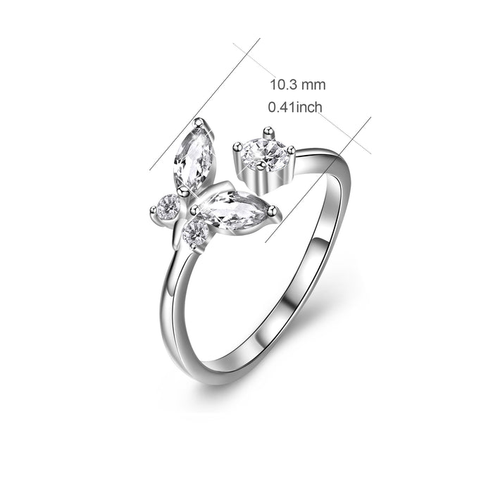 925 Sterling Silver Butterfly Crystal Charm Rings For Women Girlfriend