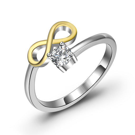 925 Sterling Silver Charm Two-Tone Crystal Ring