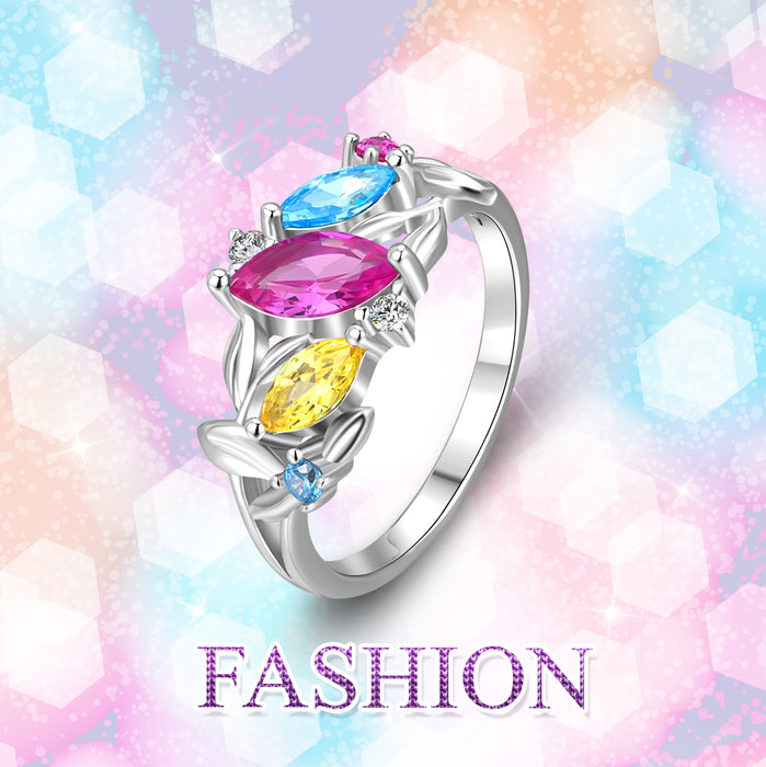 925 Sterling Silver Flower Cubic Zirconia Ring