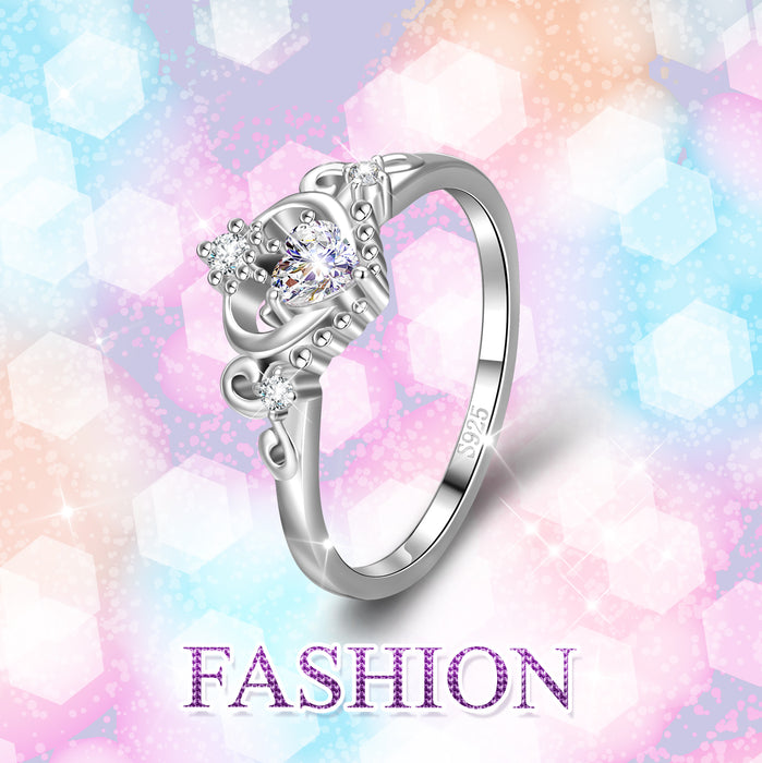 925 Sterling Silver Atrract Shiny Crystal Round Ring