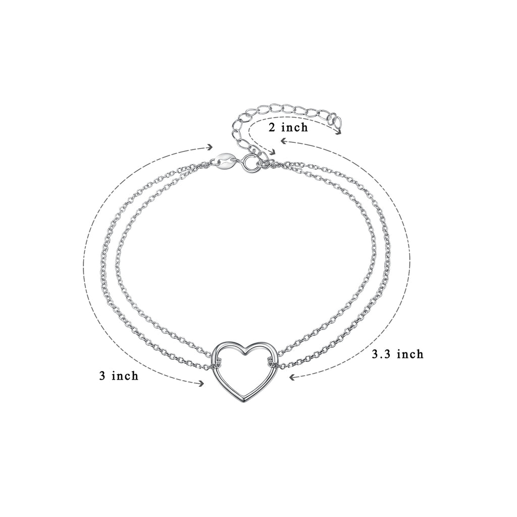 925 Sterling Silver Double Chain Love Heart Adjustable Bracelet
