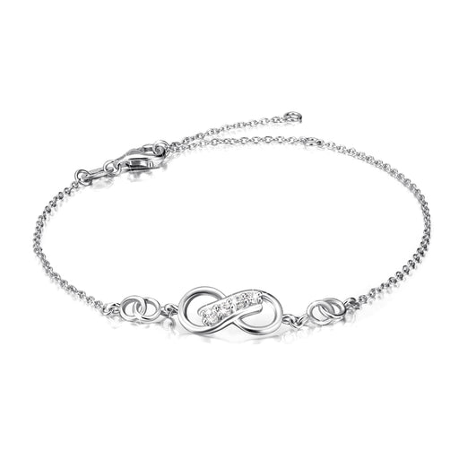 925 Sterling Silver Infinity Cubic Zircon Adjustable Chain Bracelet For Women