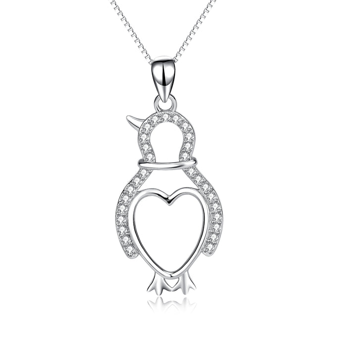 925 Sterling Silver Adorable Penguin Love Heart Necklace For Women
