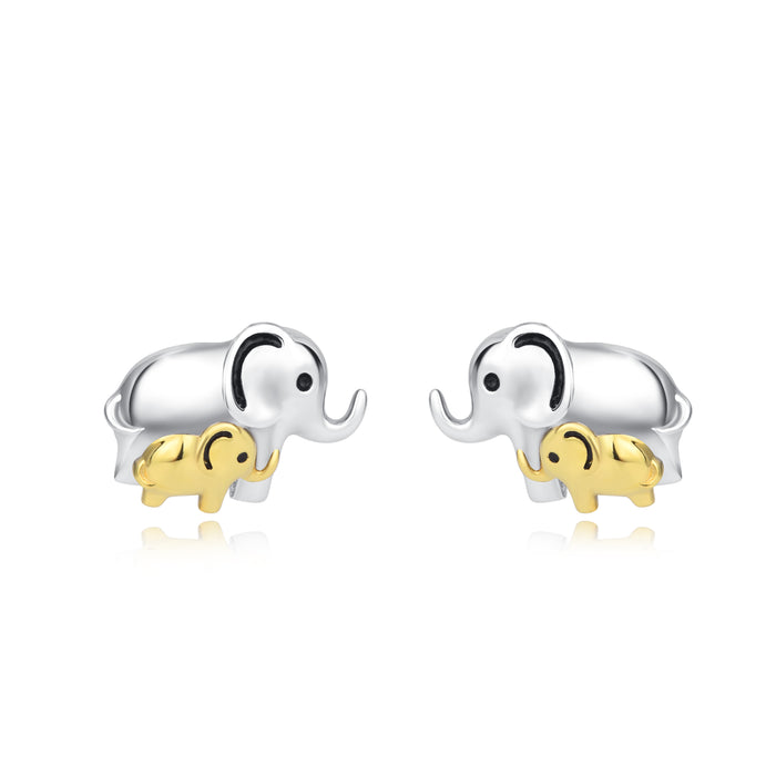 925 Sterling Silver Mom Baby Elephant Studs