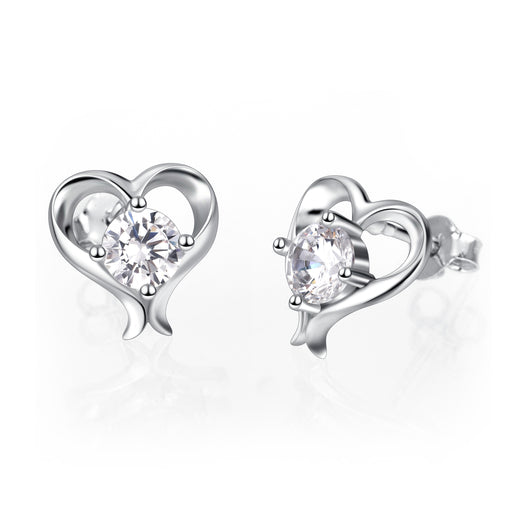 925 Sterling Silver Love Heart Fine Jewels Studs