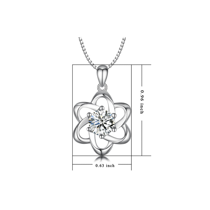 925 Sterling Silver Flower Jewels Good Luck Necklace
