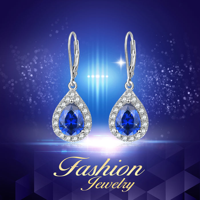 925 Sterling Silver Dewdrop Blue Crystal Crystal Drop Earrings