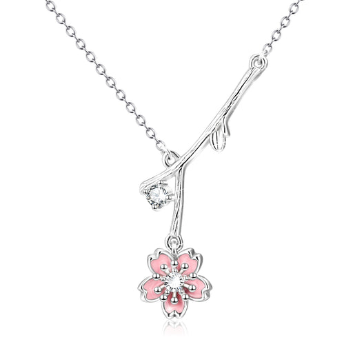 925 Sterling Silver Tree Branch Flower Zircon Necklace For Women