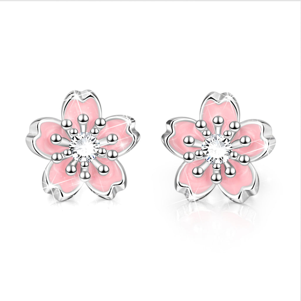 925 Sterling Silver Pink Flower Cubic Zircon Necklace