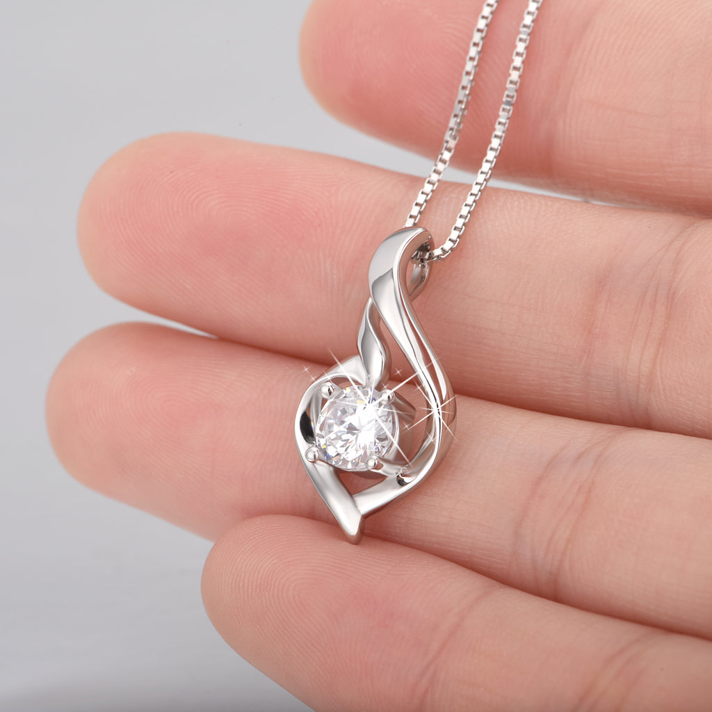 925 Sterling Silver Ribbon Shape Jewels Attract Necklace For Women Girls