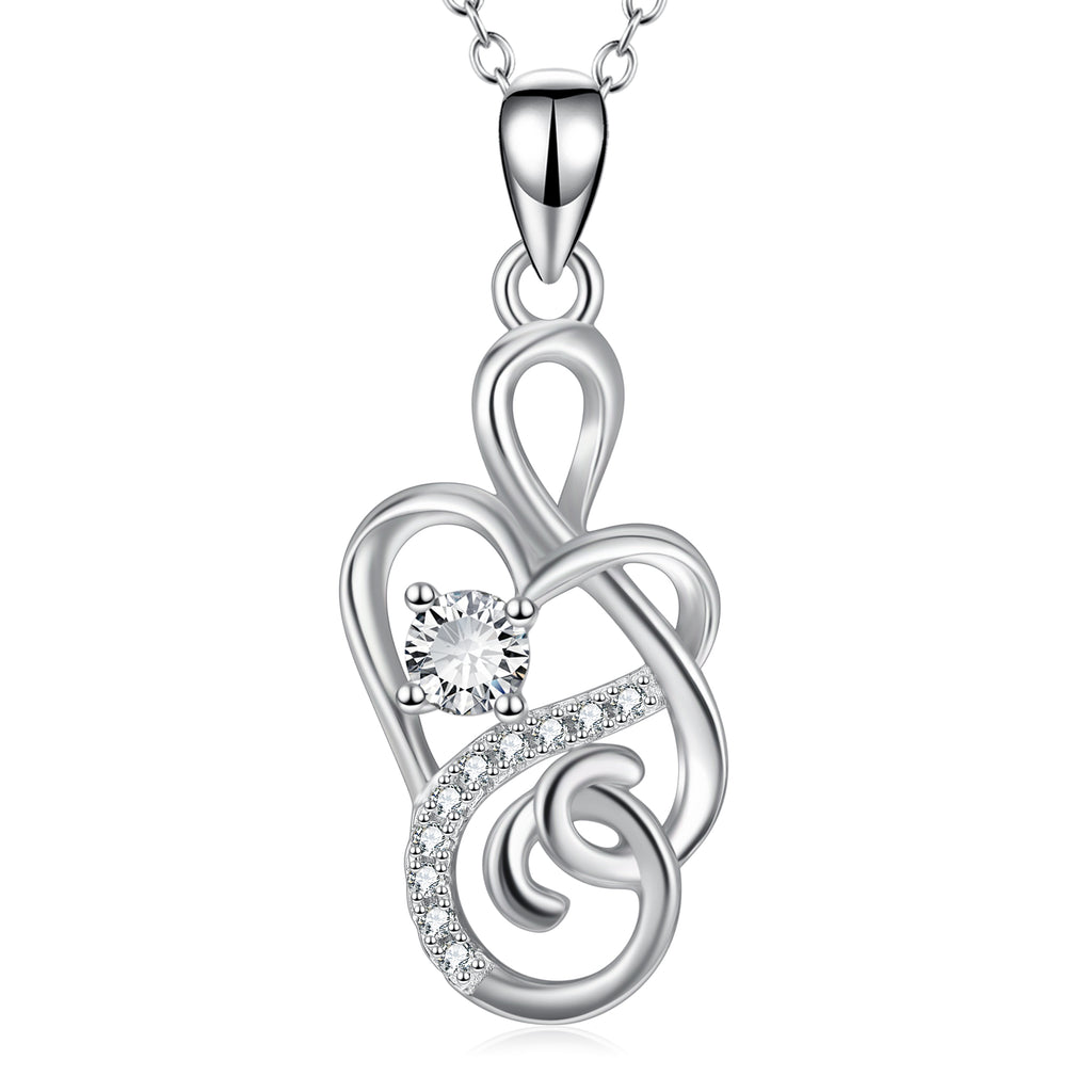 925 Sterling Silver Intertwined Heart Fine Jewels Necklace