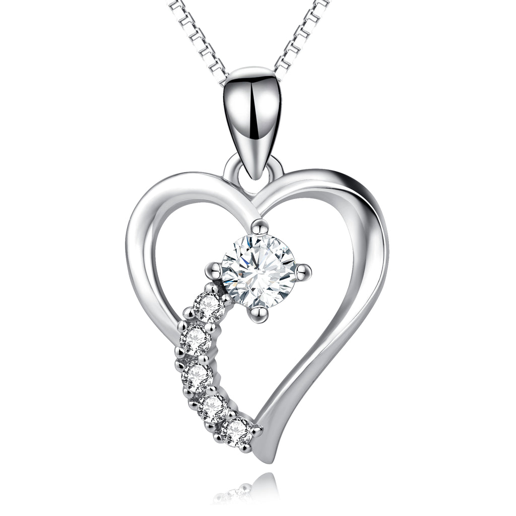 925 Sterling Silver Love Heart Crystal Lucky Pendant Necklace