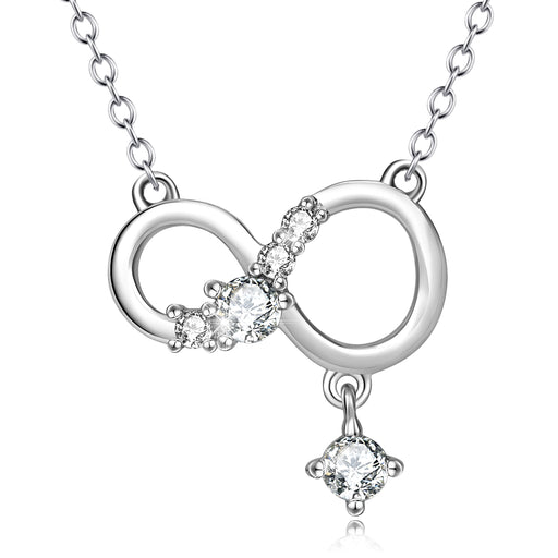 925 Sterling Silver Infinity Crystal Lucky Necklace For Women Girls