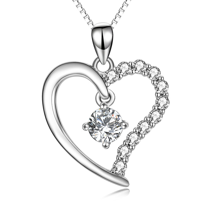 925 Sterling Silver Love Heart Crystal Pendant Lucky Necklace
