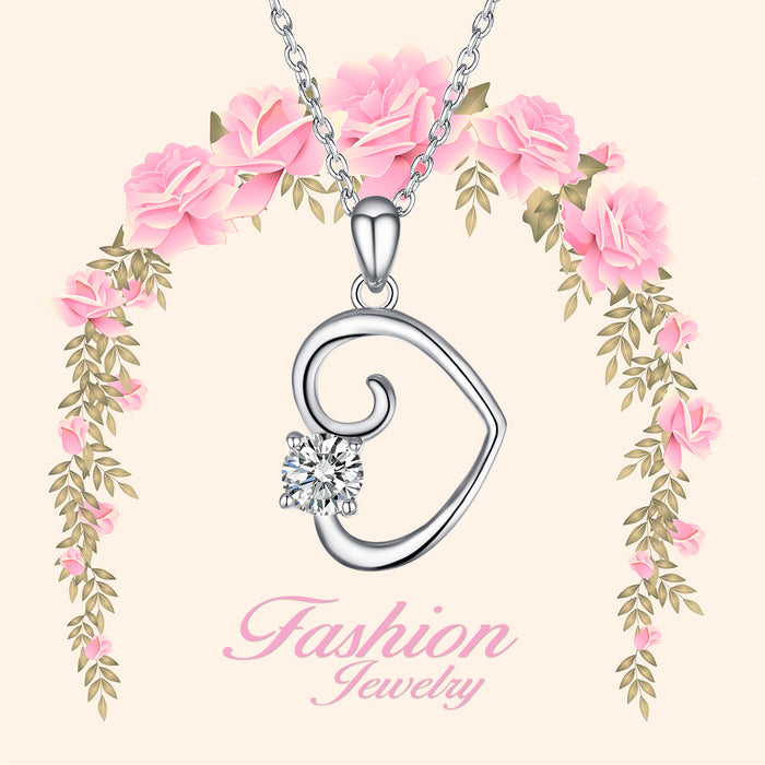 925 Sterling Silver Love Heart Cubic Zircon Pendant Necklace