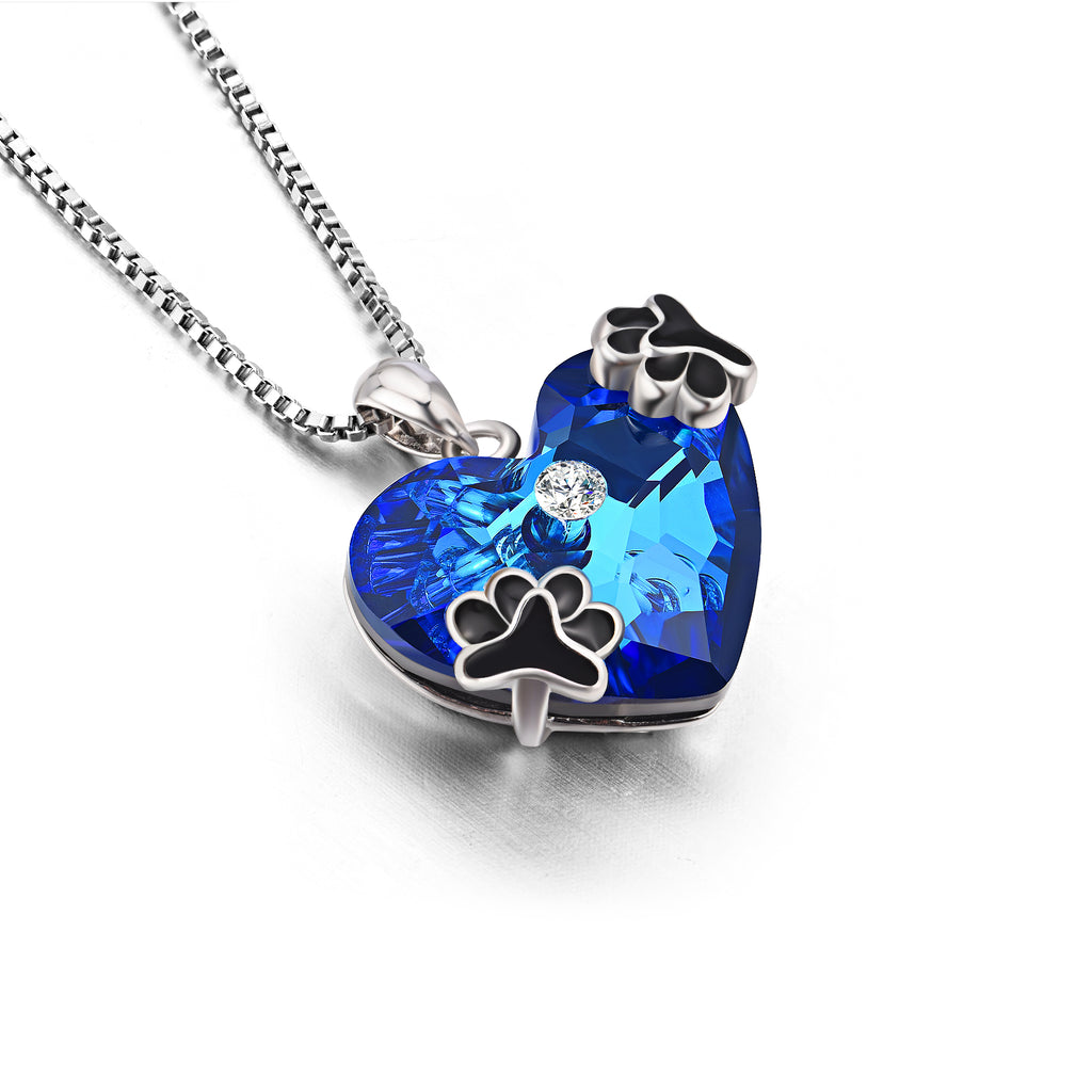 925 Sterling Silver Super Cool Dog Foot Blue Ocean Heart Crystal Crystal Necklace For Women Girlfriend