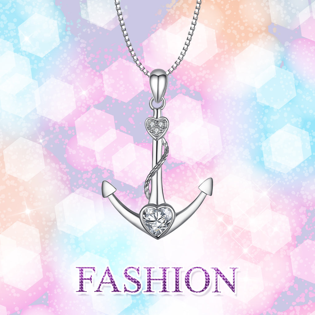 925 Sterling Silver Anchor Love Heart Cubic Zircon Necklace