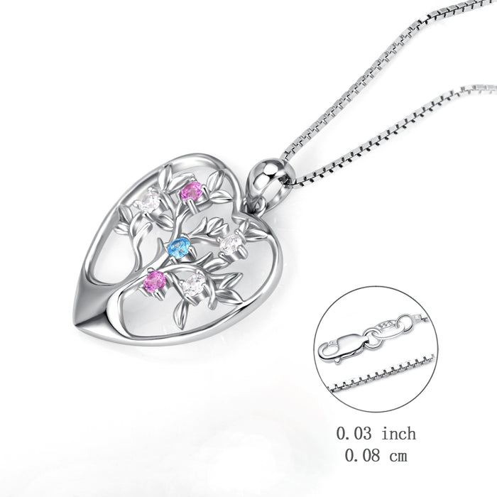 925 Sterling Silver Love Heart Tree Flower Crystal Lucky Neckalce