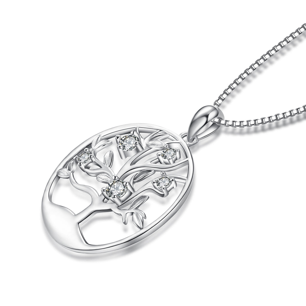 925 Sterling Silver Tree Fine Jewels Round Pendant Necklace