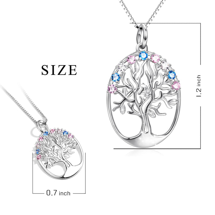 925 Sterling Silver Tree Birthstones Round Pendant Necklace