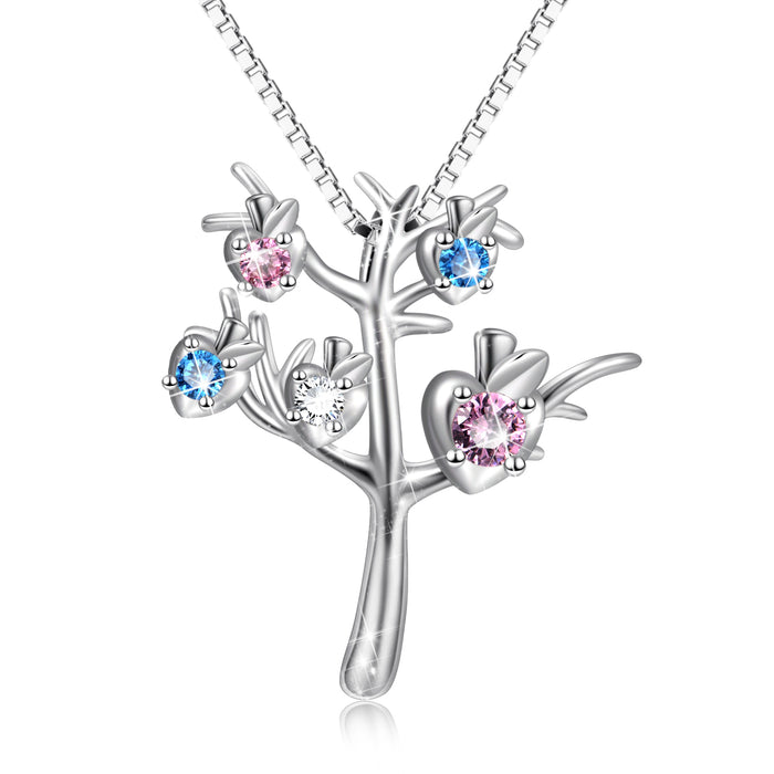 925 Sterling Silver Good Luck Birthstones Tree Necklace