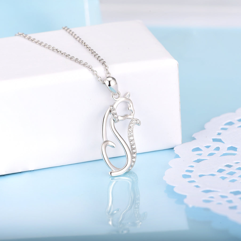 925 Sterling Silver Unique Animal Style Zircon Pendant Necklace
