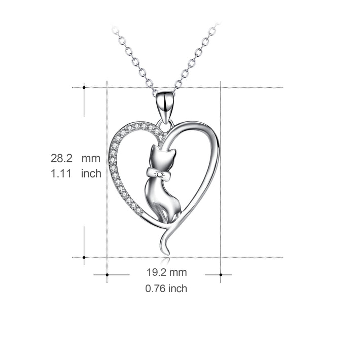 925 Sterling Silver Love Heart Lovely Cat Jewelry Necklace